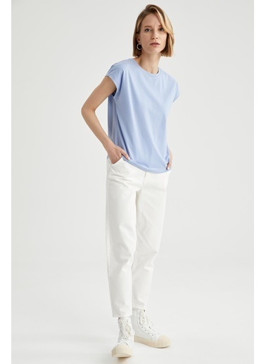 DeFacto Basic Düşük Omuzlu Relax Fit Kısa Kollu Tişört Mavi